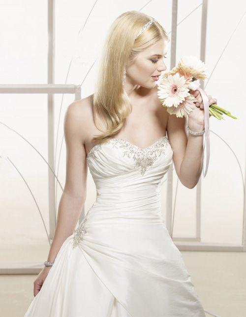 A-Form Perlen Corsage Schnürung Taft Brautkleid [#UD1580] - schoenebraut.com
