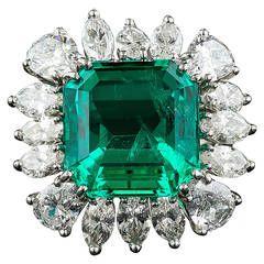 9.06 Carat Emerald Diamond Platinum Ring-$82.500