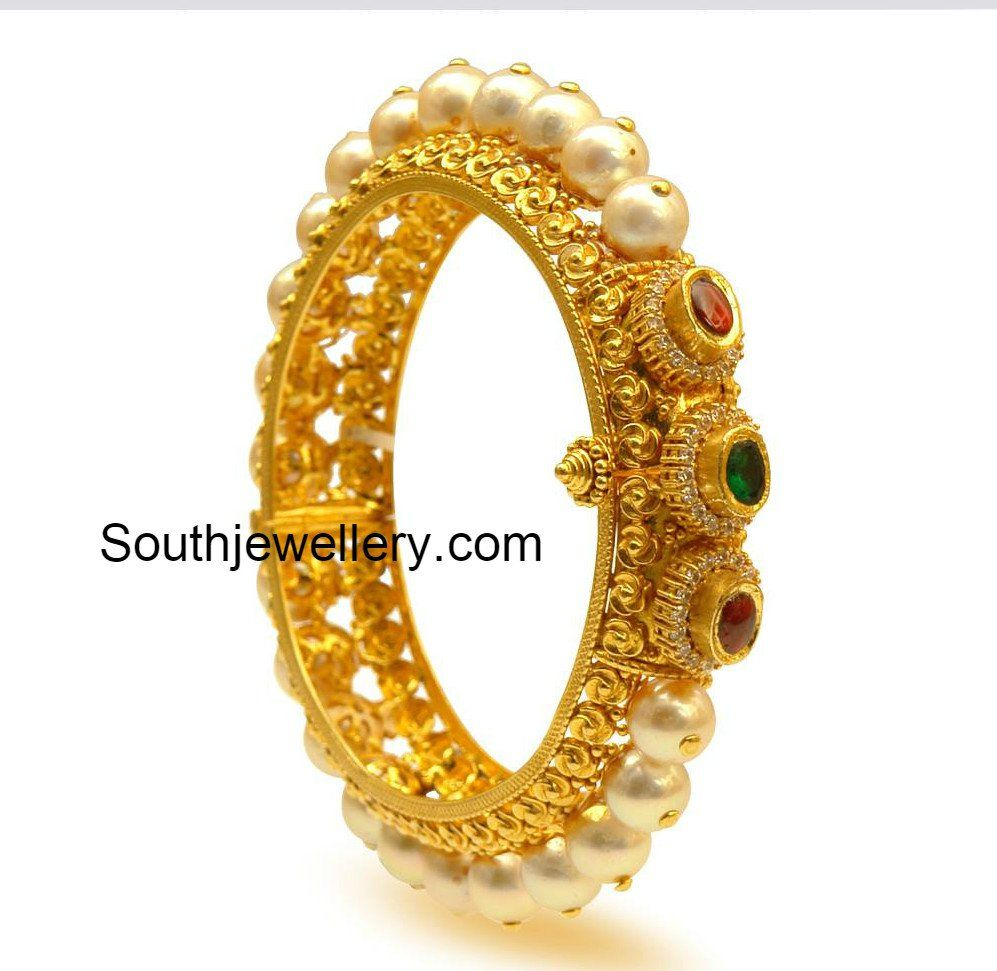 Diamond bangles latest jewelry designs jewellery designs - Pearl Bangle Or Pearl Kada From Prince Jewellery This 22 Carat Pearl Kada Has Heavy Gold Design With Pearls Studded In The Middle