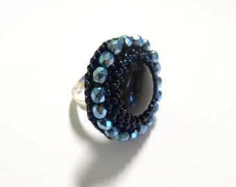 Blue bead embroidery ring with blue sandstone - Bead embroidered jewelry - Gift for her Spring Summer Cocktail ring Schmuck Gemstone