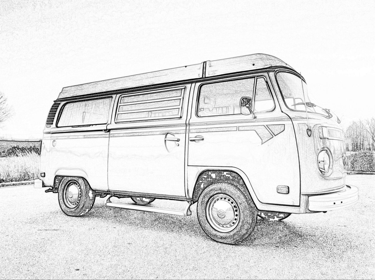 Pencil drawing vw bus adventures in 2019 pencil drawings car