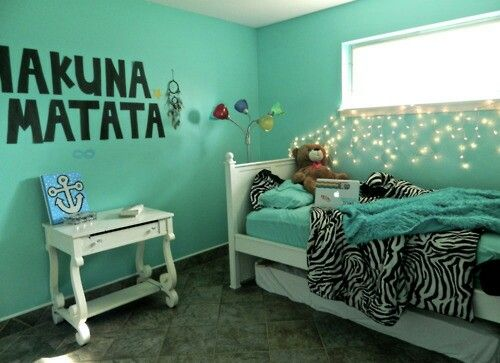 I like the phrase on the wall and the bedding. Simple but cute.
