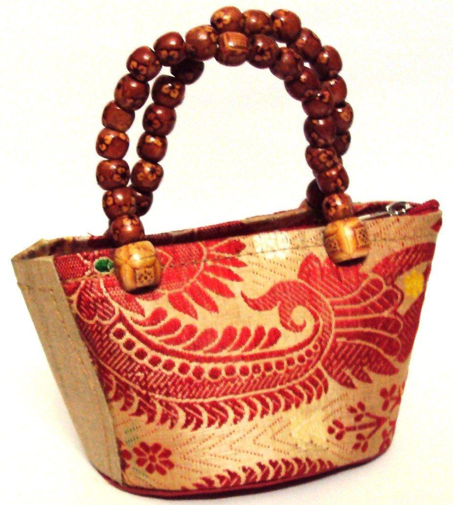 5d5a0652de55 Muga Silk designer Ladies Handbag with beads handle More Fashion at  www.thedillonmall.com