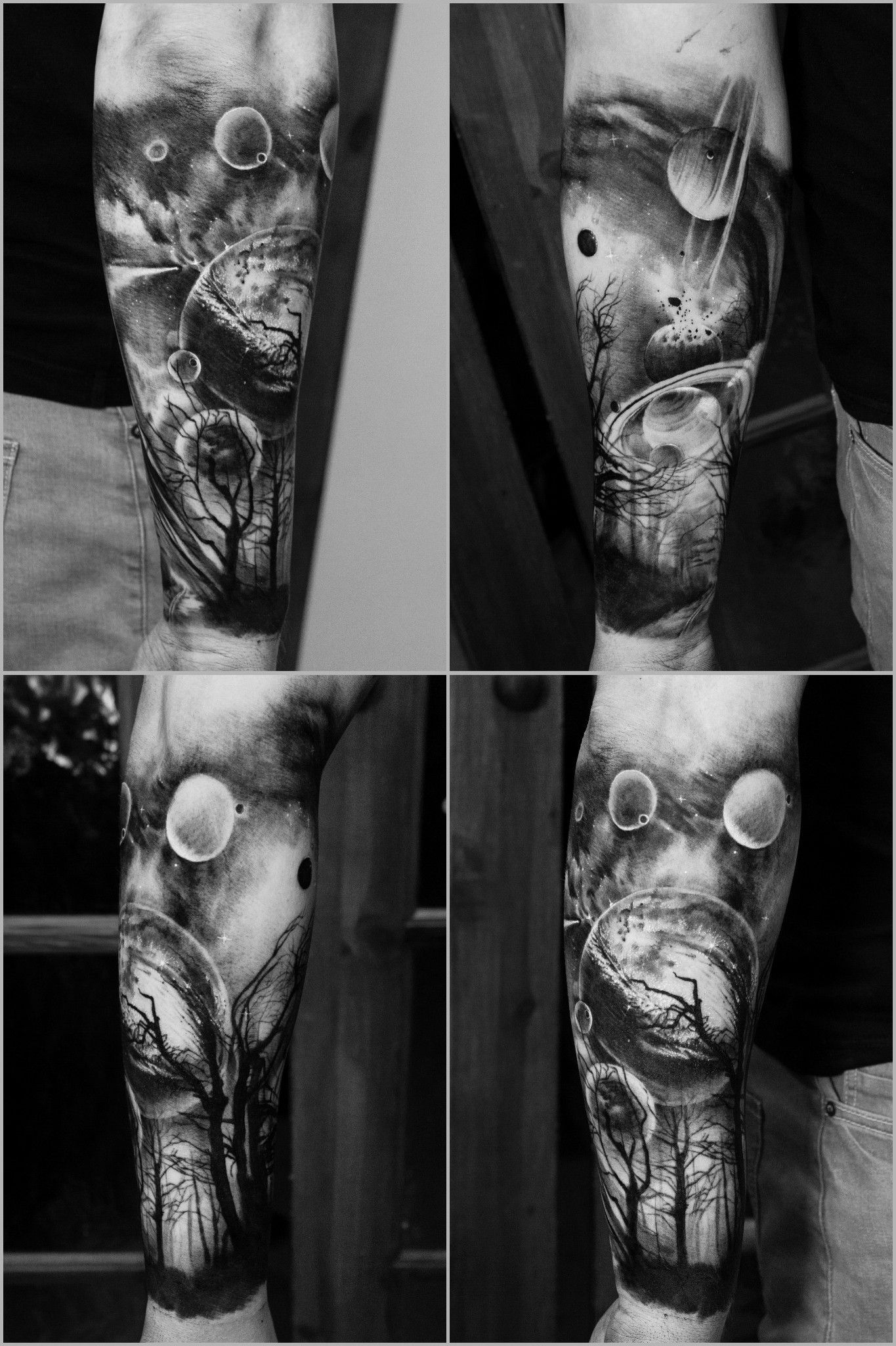 Half Sleeve Space Tattoo With Foggy Forest And Road By Elle Gottzi Inkdependent Half Sleeve Space In 2020 Space Tattoo Space Tattoo Sleeve Galaxy Tattoo Sleeve