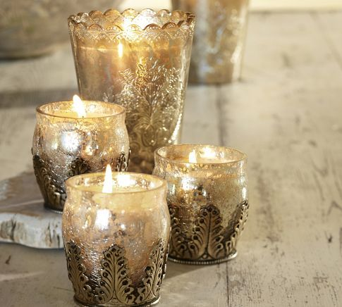 Mercury Glass Candle Pot & Votive Set Benefiting St. Jude Children's Research Hospital® | Pottery Barn