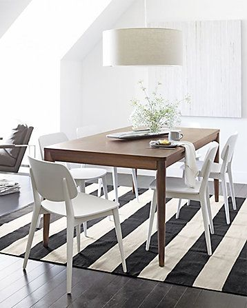 Crate Barrel Olin Grey And White Striped Rug Rugs Dining Rugs