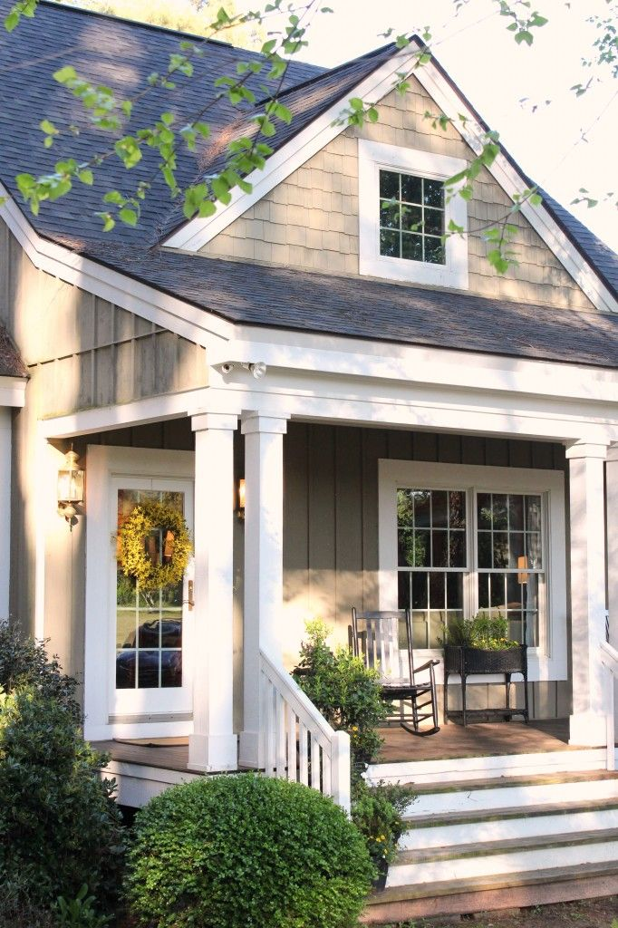 Grey Blue Roof, White Trim And Columns, Cottage Style. ~UR