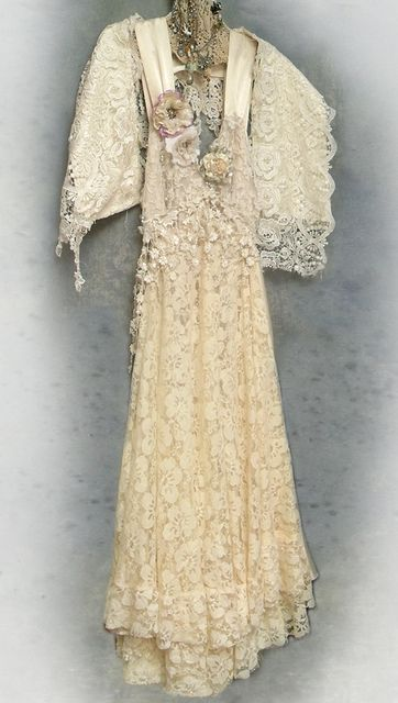 custom made boho wedding dress by Resurrection Rags, via Flickr