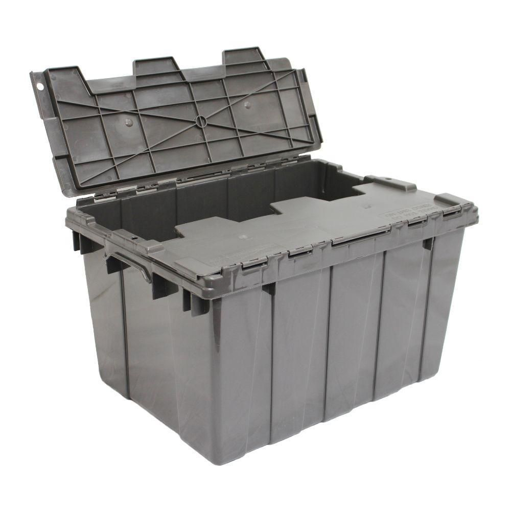 12 Gal Heavy Duty Flip Top Storage Bin In Grey 236475 The Home Depot Tote Storage Heavy Duty Storage Bins Grey Storage