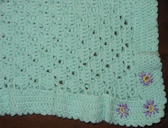 Mint Green with Embroidered Flowered Corner  by AdorableCuddles, $47.00
