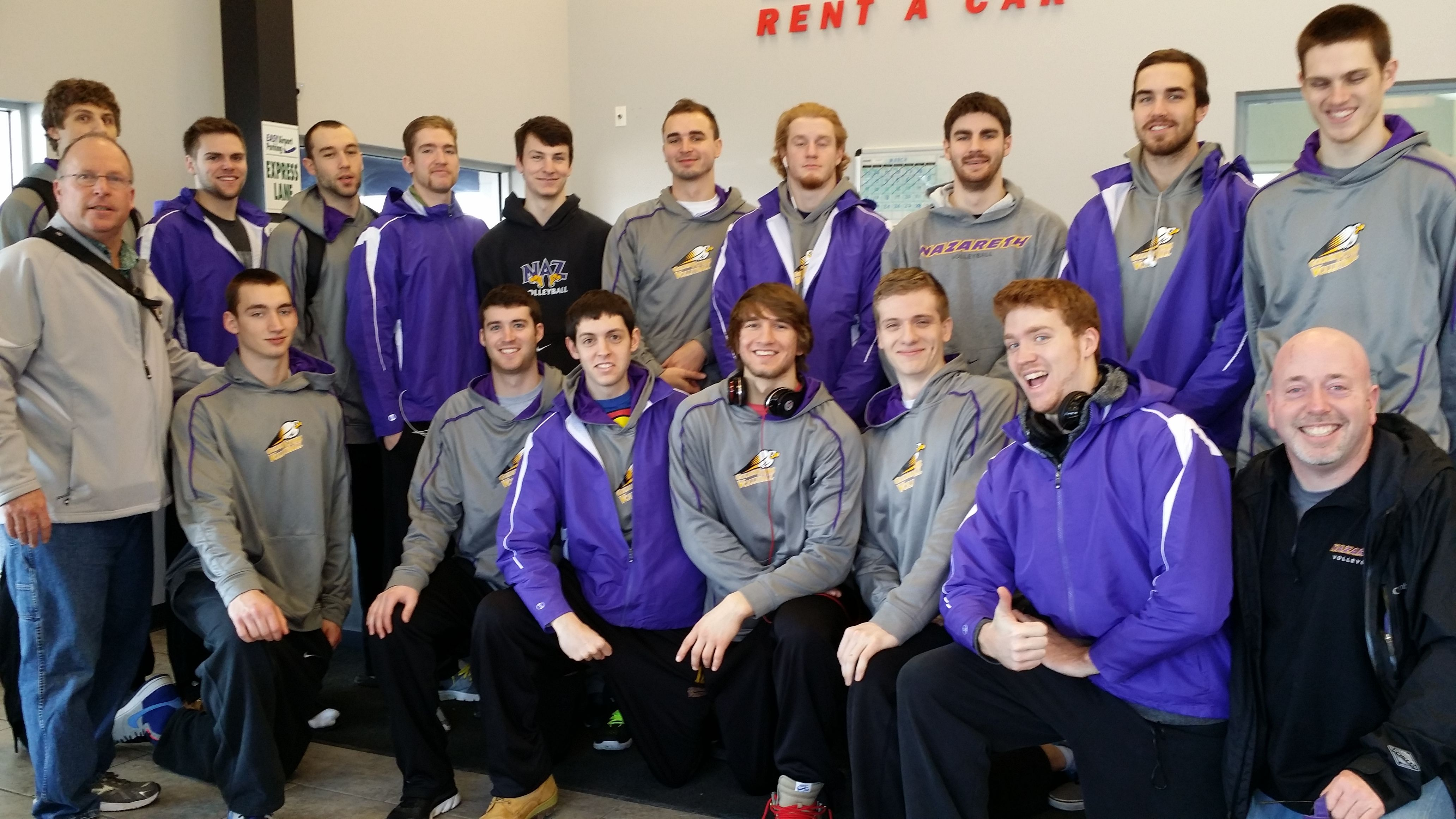 We Had The Pleasure Of Having The Nazareth College Men S Volleyball Team In Our Chicago Office We Wish Them T Mens Volleyball Volleyball Team Nazareth College