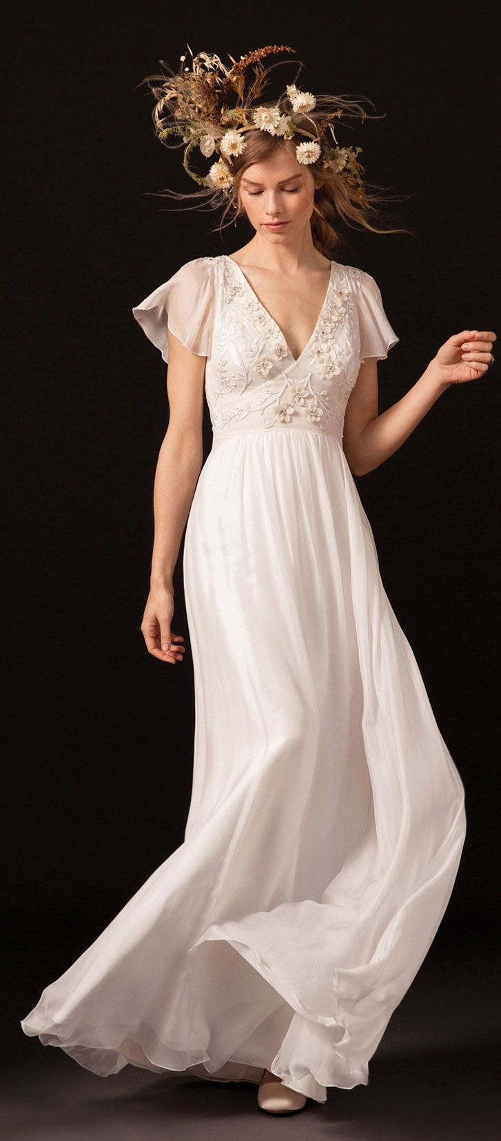 Flared bohemian sleeves v neckline with dotty tulle godets a line wedding #weddingdress #wedding #weddinggown