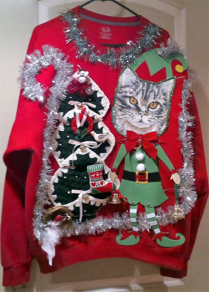 5ca579b502a Ugly CAT SWEATER SANTA ELF PAWS GAUDY CHRISTMAS MEN Women Lights 2XL 52
