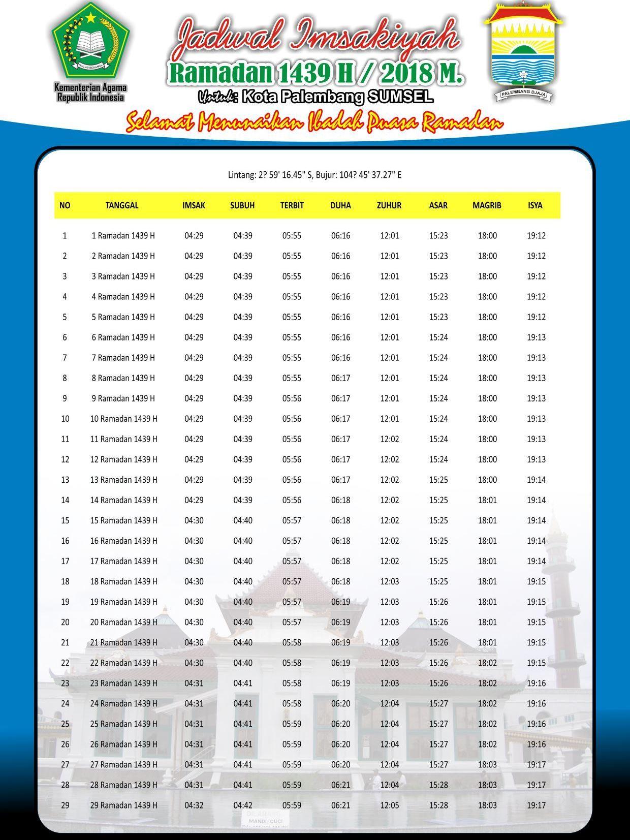 Imsakiyyah Puasa Ramadhan 1439 H 2018 Jadwal Free Download ...