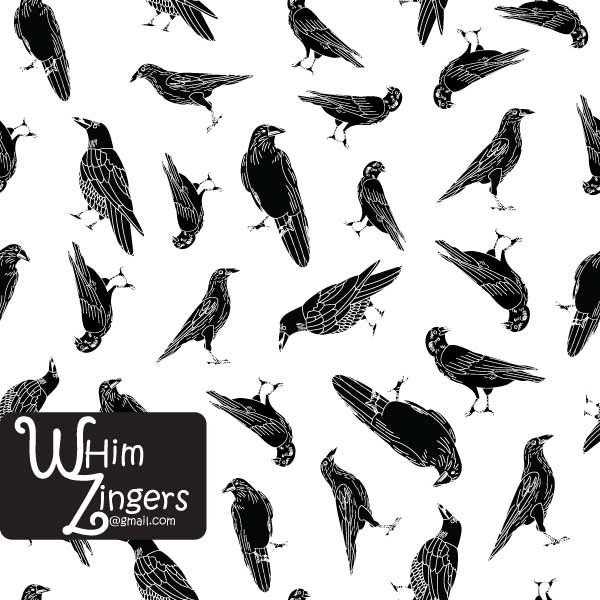 A digital repeat pattern for seamless tiling. #repeatpattern #seamlesspattern #textiledesign #surfacepatterndesign #vectorpatterns #homedecor #apparel #print #interiordesign #decor #repeat #pattern #repeat #repeating #tile #scrapbooking #wallpaper #fabric #texture #background #whimzingers #crow #birds #animals #black #white #illustration
