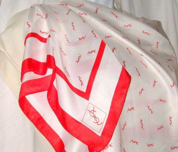 YSL Yves St Laurent Scarf Rive Gauche Red White Logo Shawl French Designer