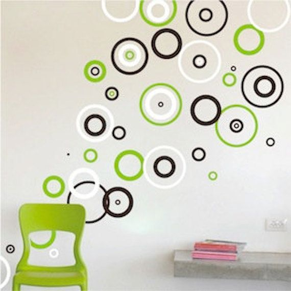 rings vinyl wall decals, bedroom shape designs, circle wall decals