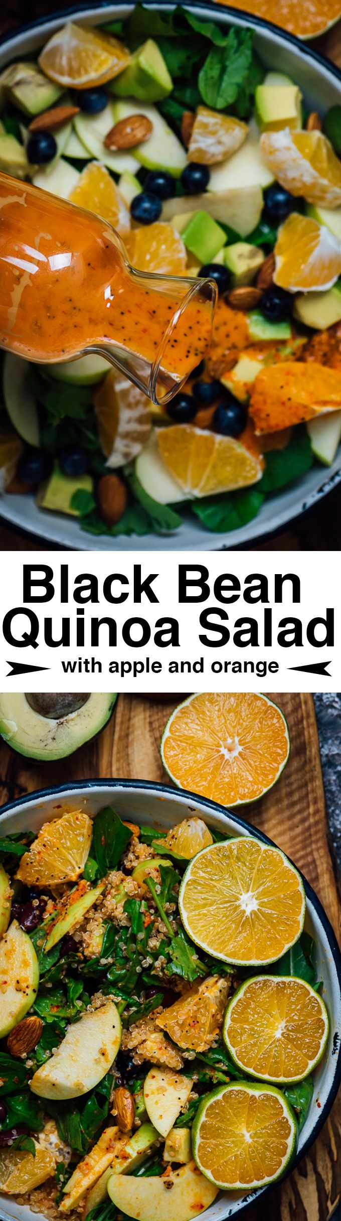 Black Bean Quinoa Salad with Apple and Orange is a perfect side dish to accompany fall dinners This power salad is definitely an immune system booster with the help of al...