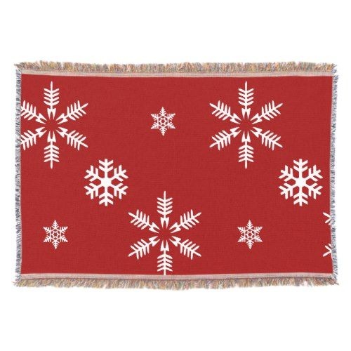 White Snow Flakes Red Background Pattern Christmas Throw Blanket New Red And White Christmas Throw Blanket