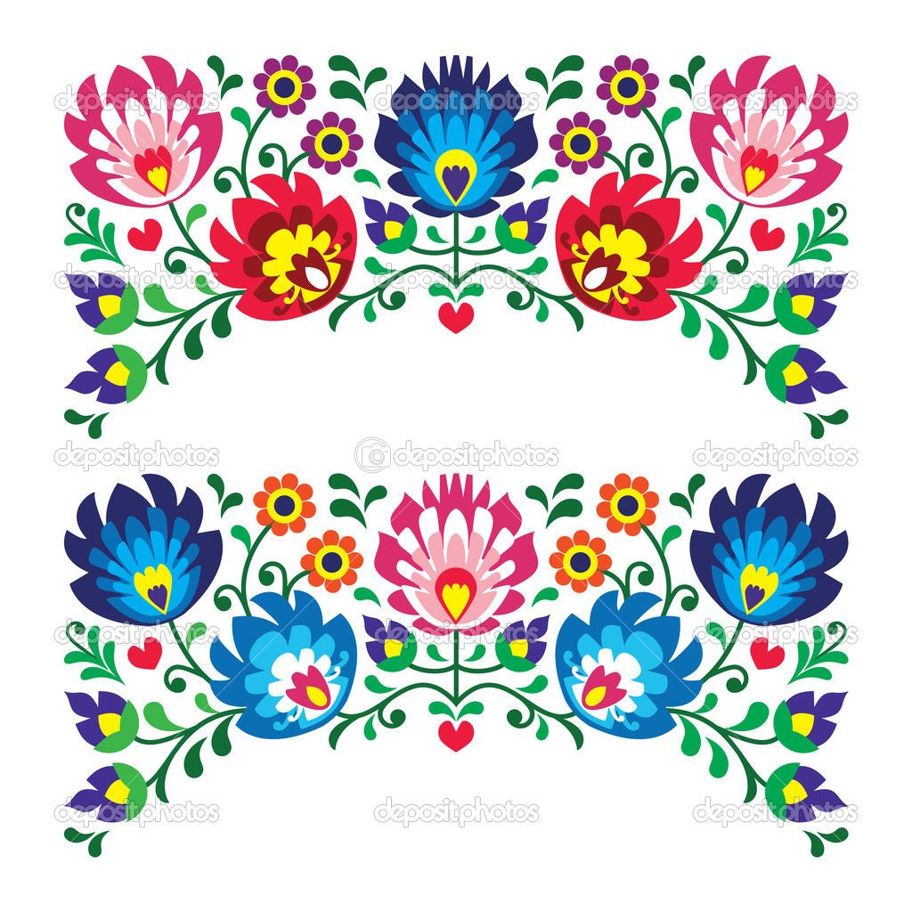 Polish floral folk embroidery patterns for card — stock