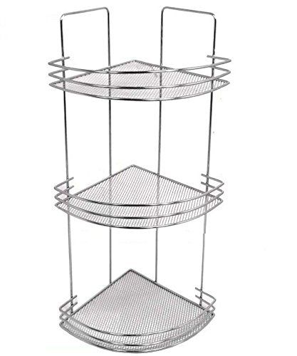 3 Tier Bath Corner Shelf Caddy With Mesh Wire Shelves And
