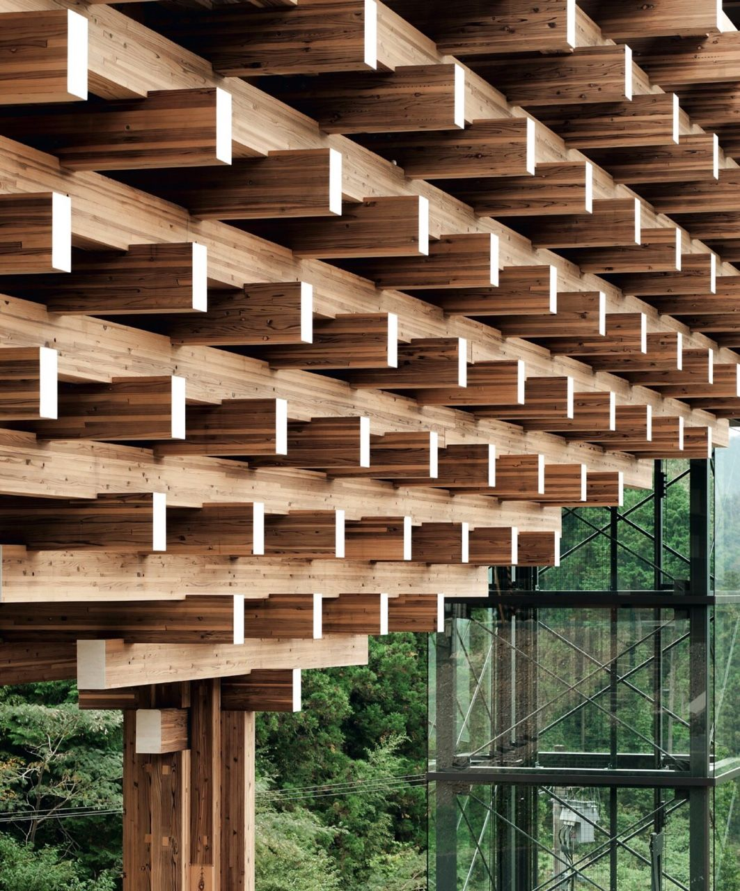 kengo kuma yusuhara wooden bridge museum japan