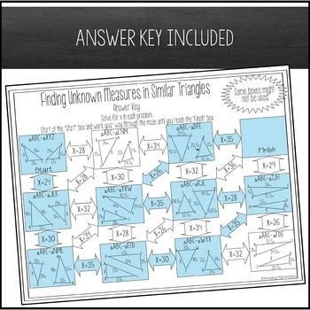 Finding Unknown Measures In Similar Triangles Maze High School