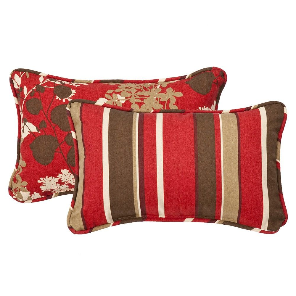 Montifleuri Monserrat Reversible Rectangle Throw Pillow Set Of 2 Outdoor Decorative Pillows Red Throw Pillows Perfect Pillow