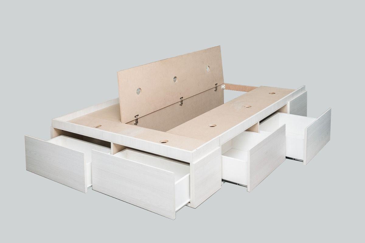 Base box sommier cama 2 plazas 4 cajones 2 botineros for Cama 2 plazas con cajones