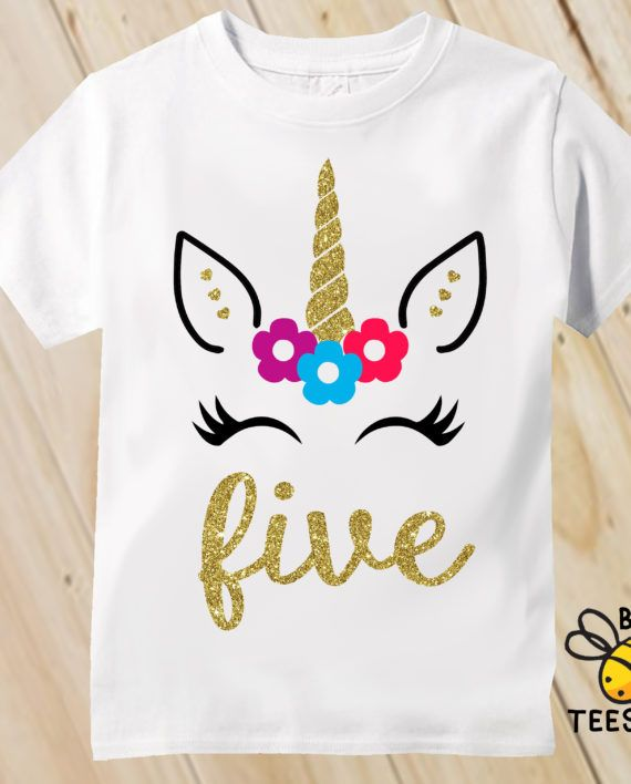 Girls Gold Unicorn Birthday Shirt