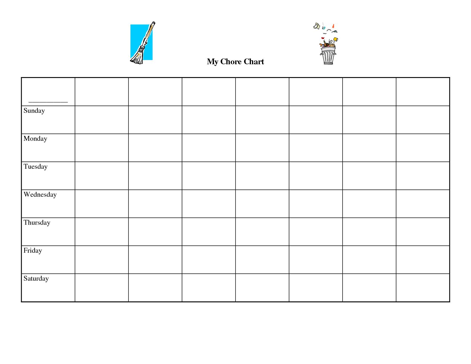Free Printable Blank Chore Chart Templates Printable Chart Free Printable Chore Charts Printable Chore Chart
