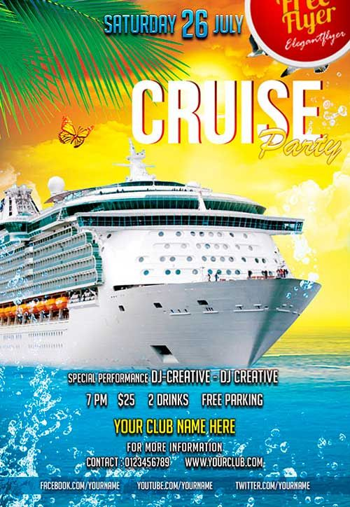 Free Cruise Party PSD Flyer Template Freepsdflyer