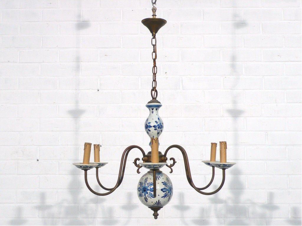 Delft blue porcelain chandelier 1950 lighting indoors and delft blue porcelain chandelier towards 1950 antique trading company arubaitofo Images