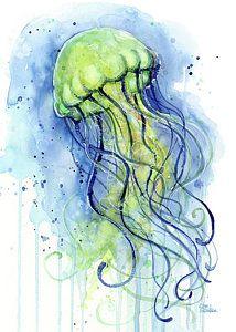 Ocean Life Painting - Jellyfish Watercolor by Olga Shvartsur