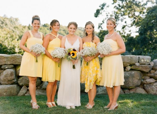 Mismatched Yellow Bridesmaid Dresses Wildflower Brides Bouquet Babys Breath Bride And Bridesmaids Bridal Party Rustic Beach Barn