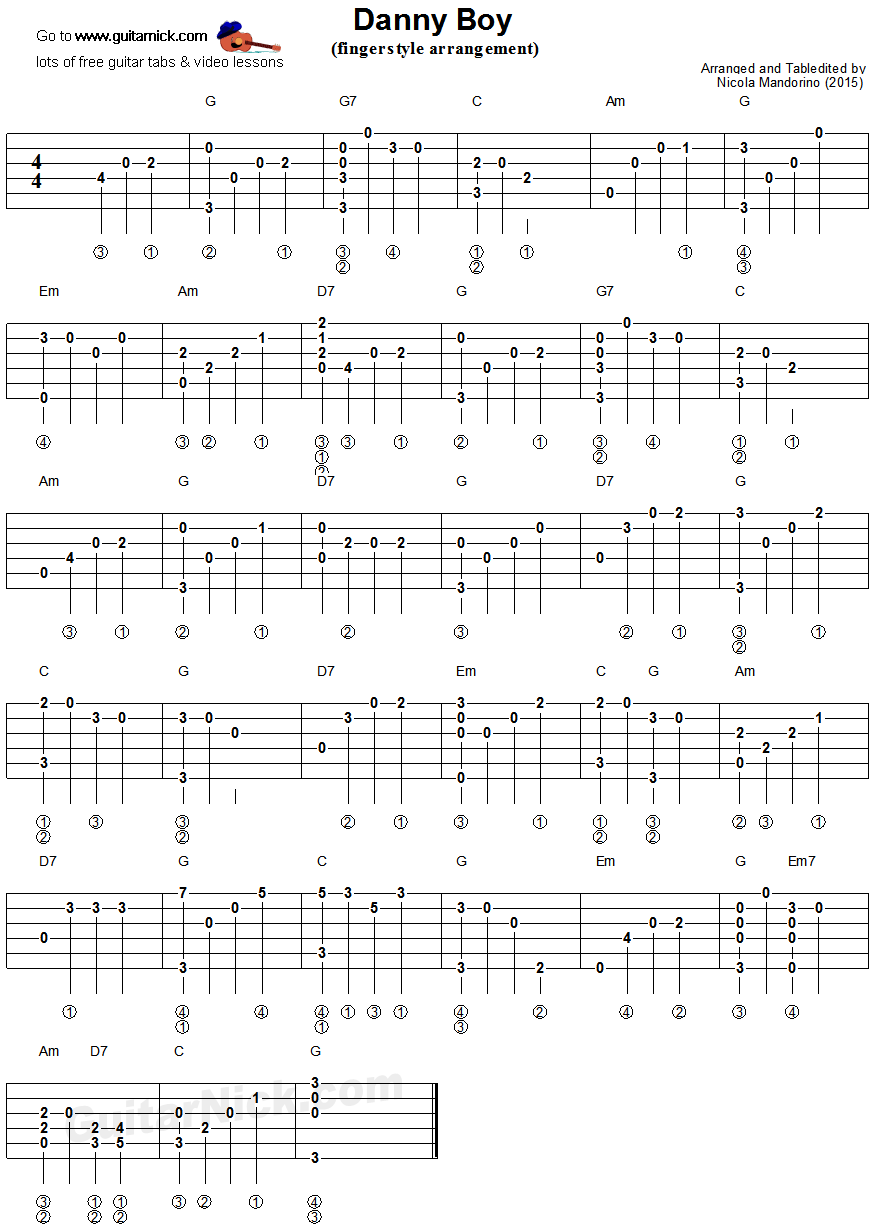 Danny Boy Fingerstyle Guitar Tablature Guitartutorials