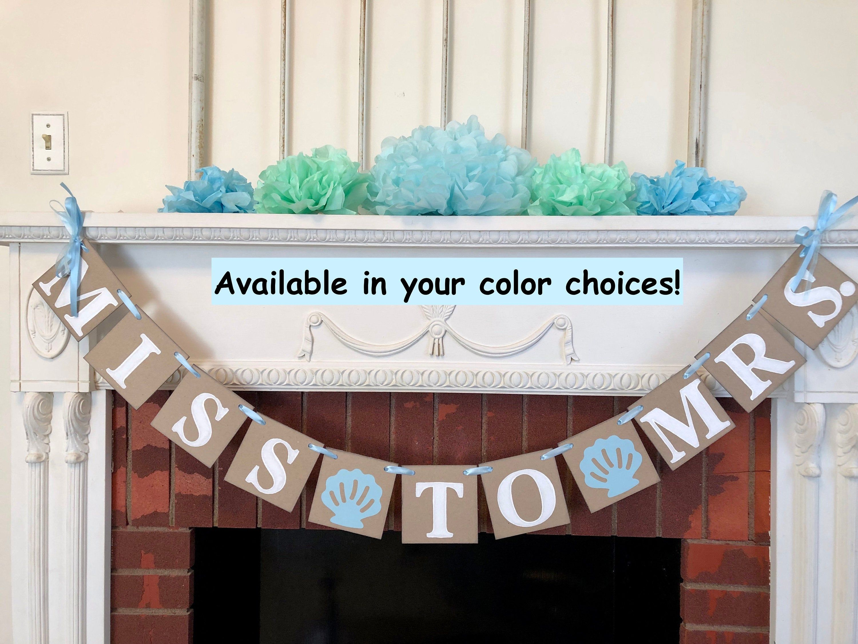 Beach Bridal Shower Decorations Miss To Mrs Banner Blue Sea