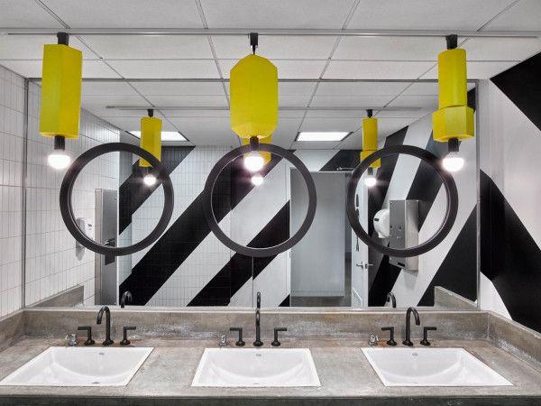 Colorful Office Renovation By Ghislaine Vinas Office Space Design Office Bathroom Design Restroom Design