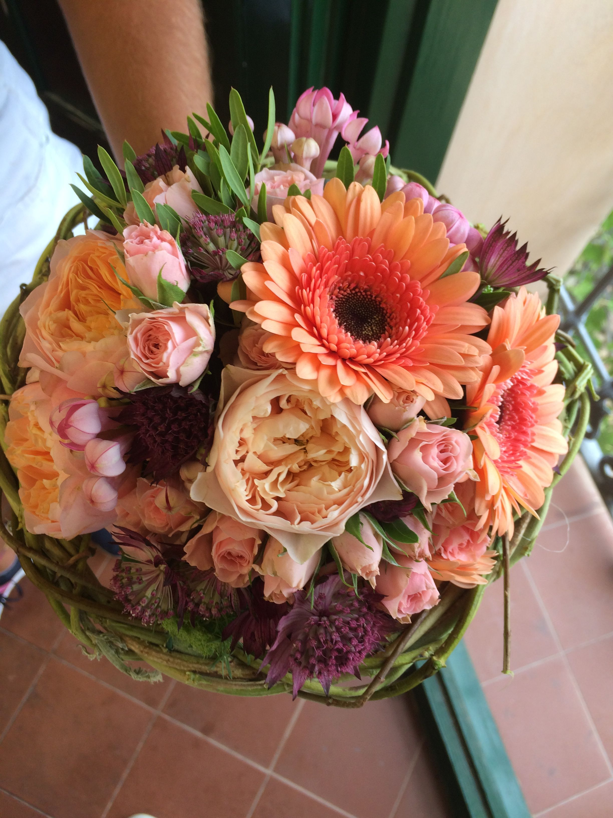 Wedding Round Bouquet Made With Vuvuzela Roses Orange Gerbera Pink
