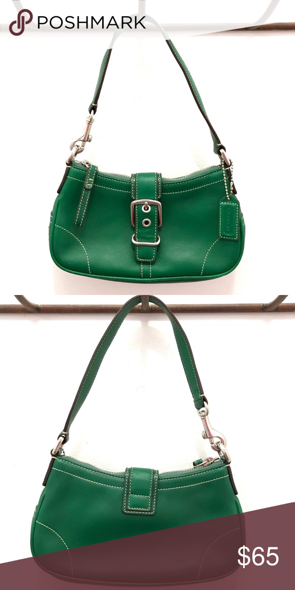 3c3c03233d Coach Small Leather Shoulder Bag (style 7542) Green Hampton Demi Bag.  Genuine leather with silver hardware and magnetic buckle closure.