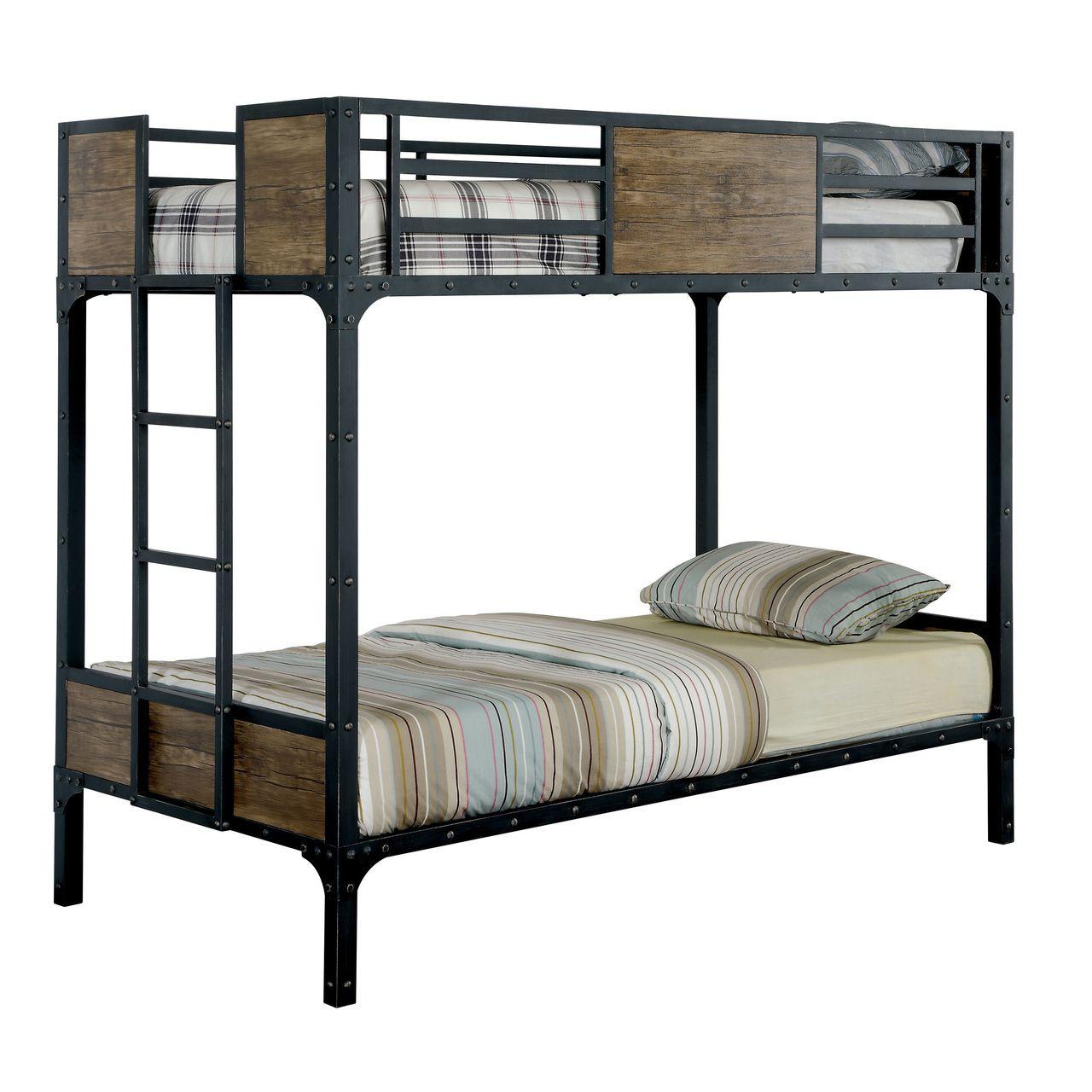 Furniture of America Industrial Metal Wood Twin over Twin Bunk Bed