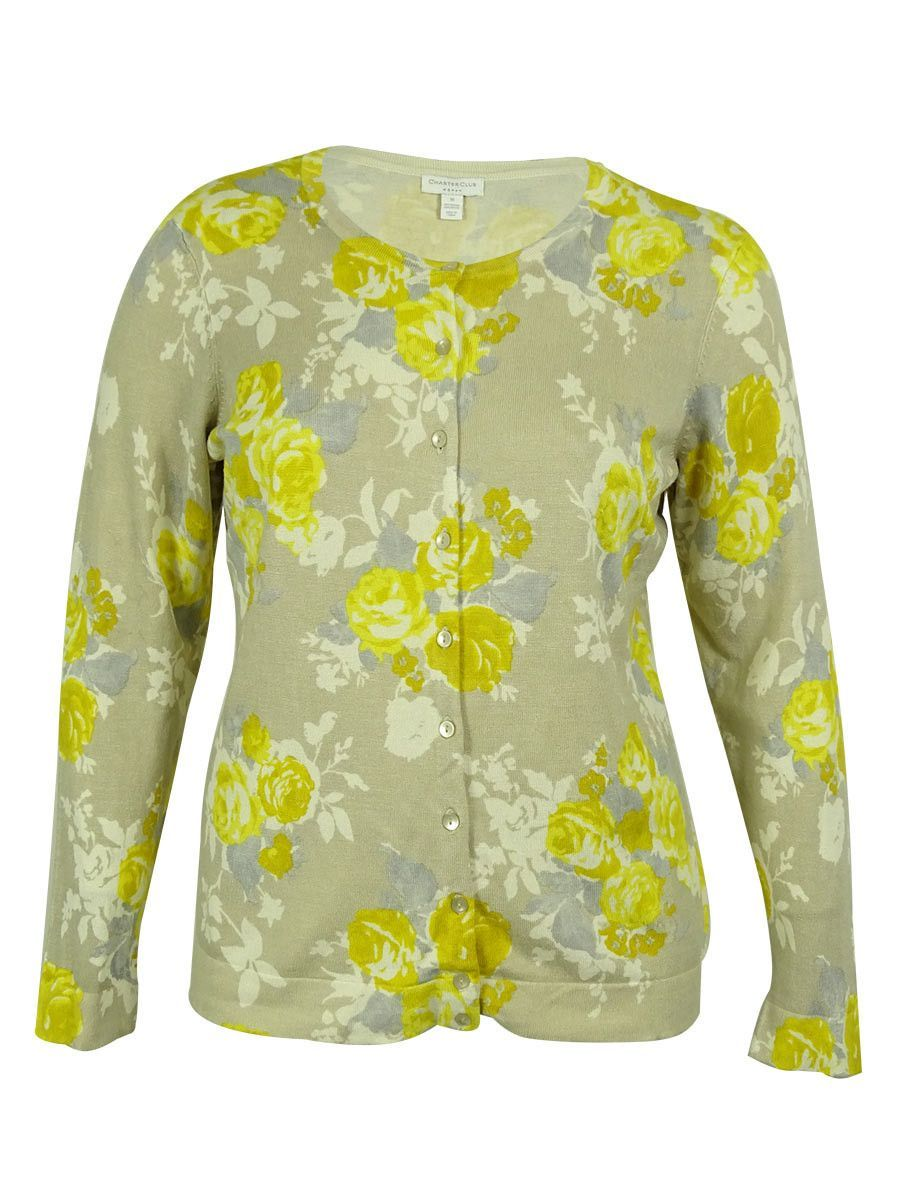 Charter Club Women's Floral Button-Down Sweater
