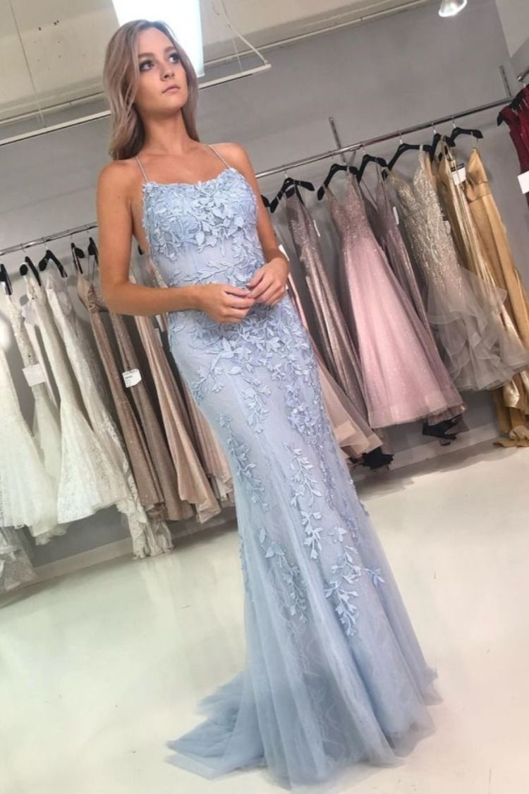 Elegant Light Blue Two Piece Prom Dress With Lace Appliques Lace Blue Dress Light Blue Prom Dress Long Prom Dresses Blue [ 1125 x 750 Pixel ]