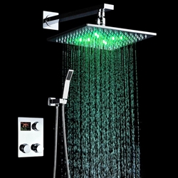 Led Shower Head Color Changing With Thermostatic Digital Mixing Valve Shower Set Shower Heads Rainfall Shower