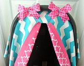 Items similar to car seat canopy with STRAPS, FLANNEL, car seat cover, chevron, teal, hot pink, houndstooth, baby, infant girl, baby girl, baby boy, infant on Etsy