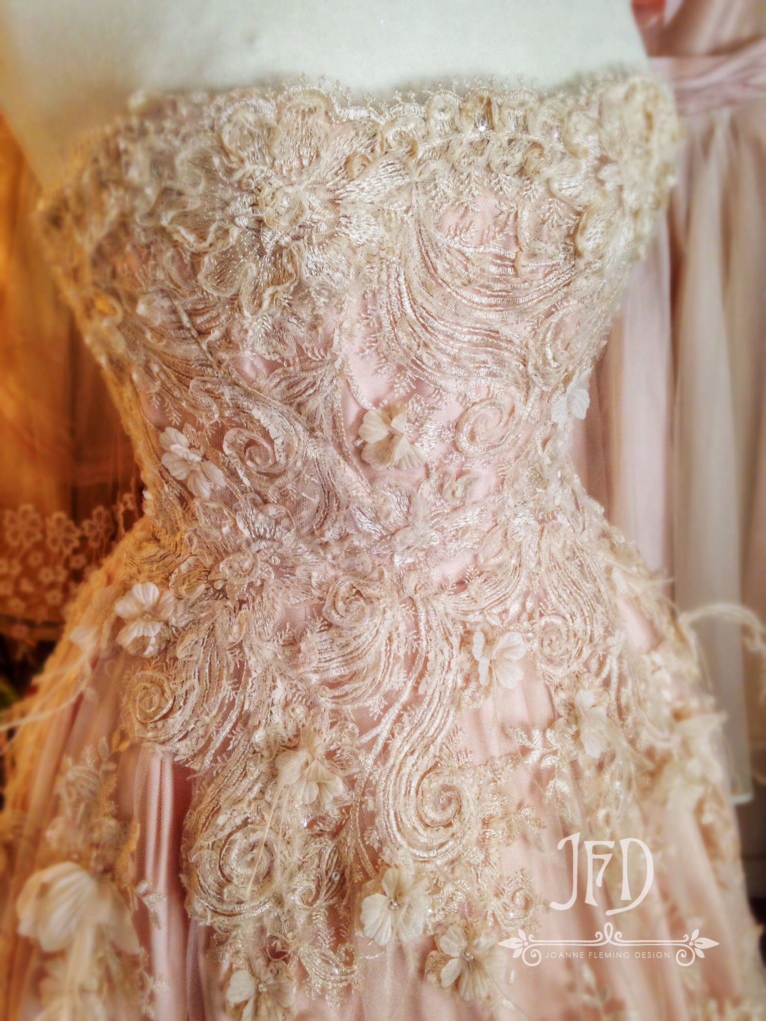 Joanne fleming design 39 carousel 39 champagne embellished for Champagne tea length wedding dresses