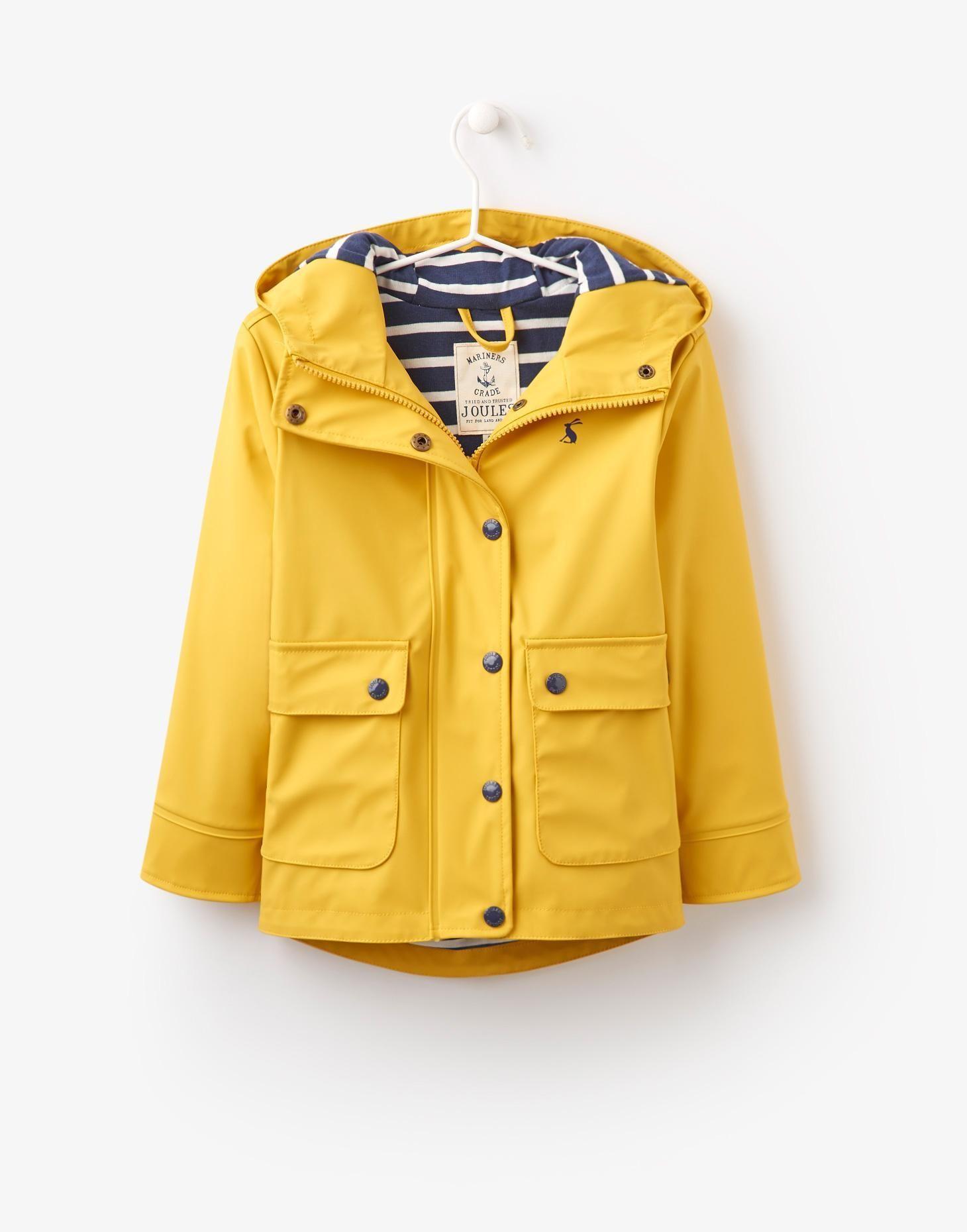 123947 Yellow Girls Waterproof Rubber Coat | Joules UK | Dressing ...