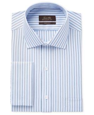 a8342f44fb9 Tasso Elba Men s Classic-Fit Non-Iron Blue Texture Stripe Dress Shirt