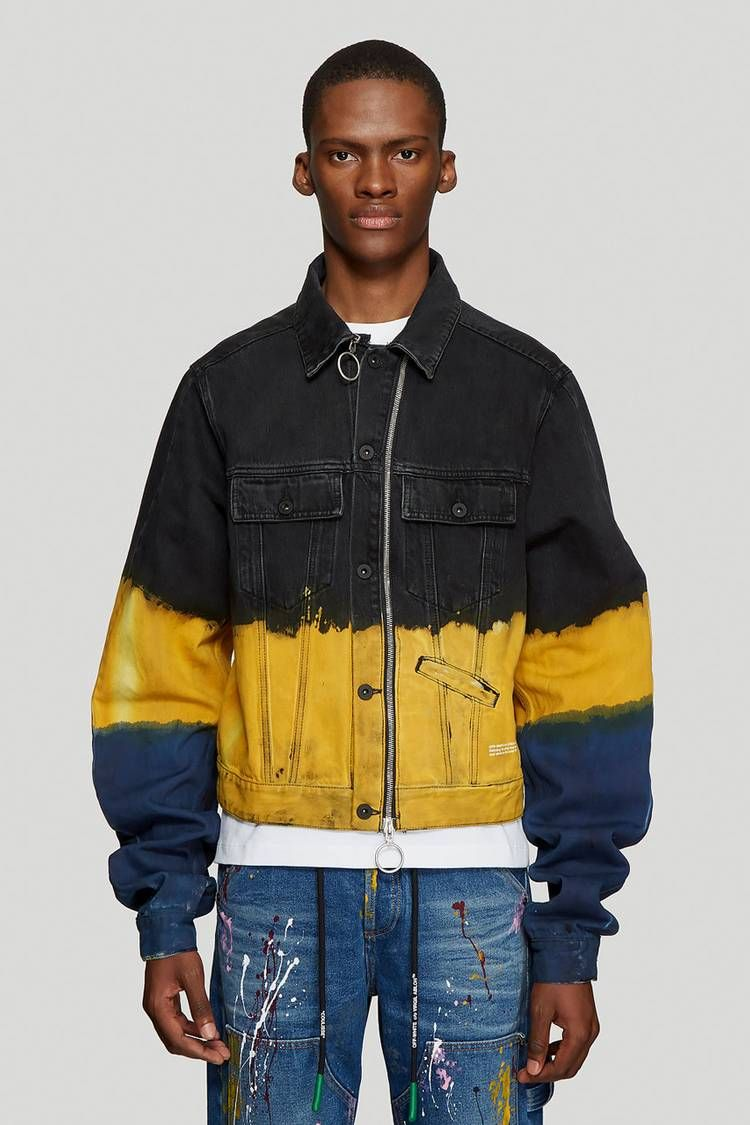 Off White Ss19 Denim Jacket Gets Coated With Tie Dye In 2020 Tie Dye Denim Denim Jacket Jackets