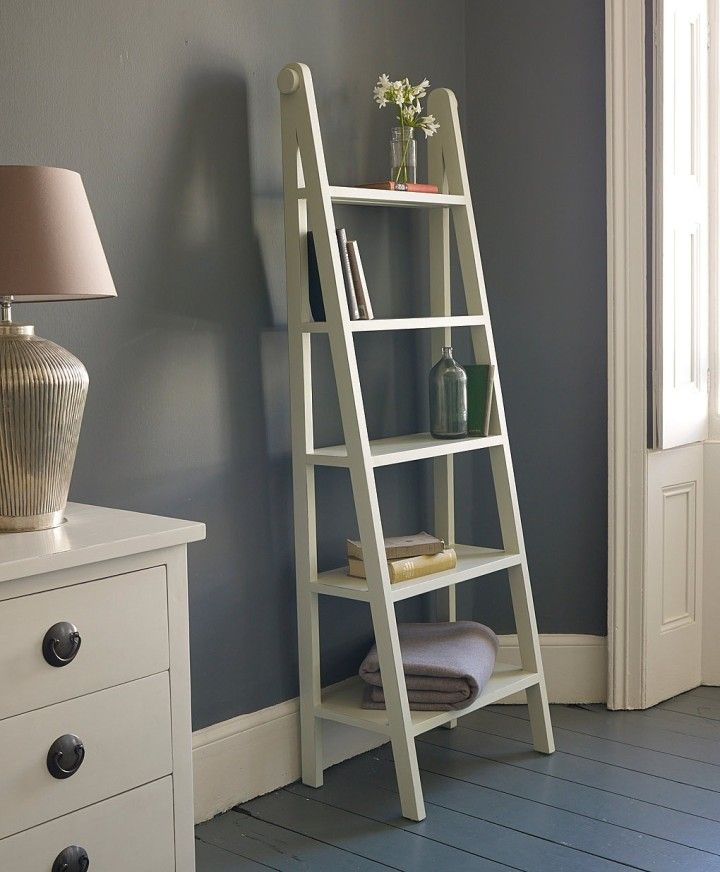 Interesting White Color Small Ladder Bookshelf Made From Wooden Upright With Glue Material 5 Tier E And Grey Wall